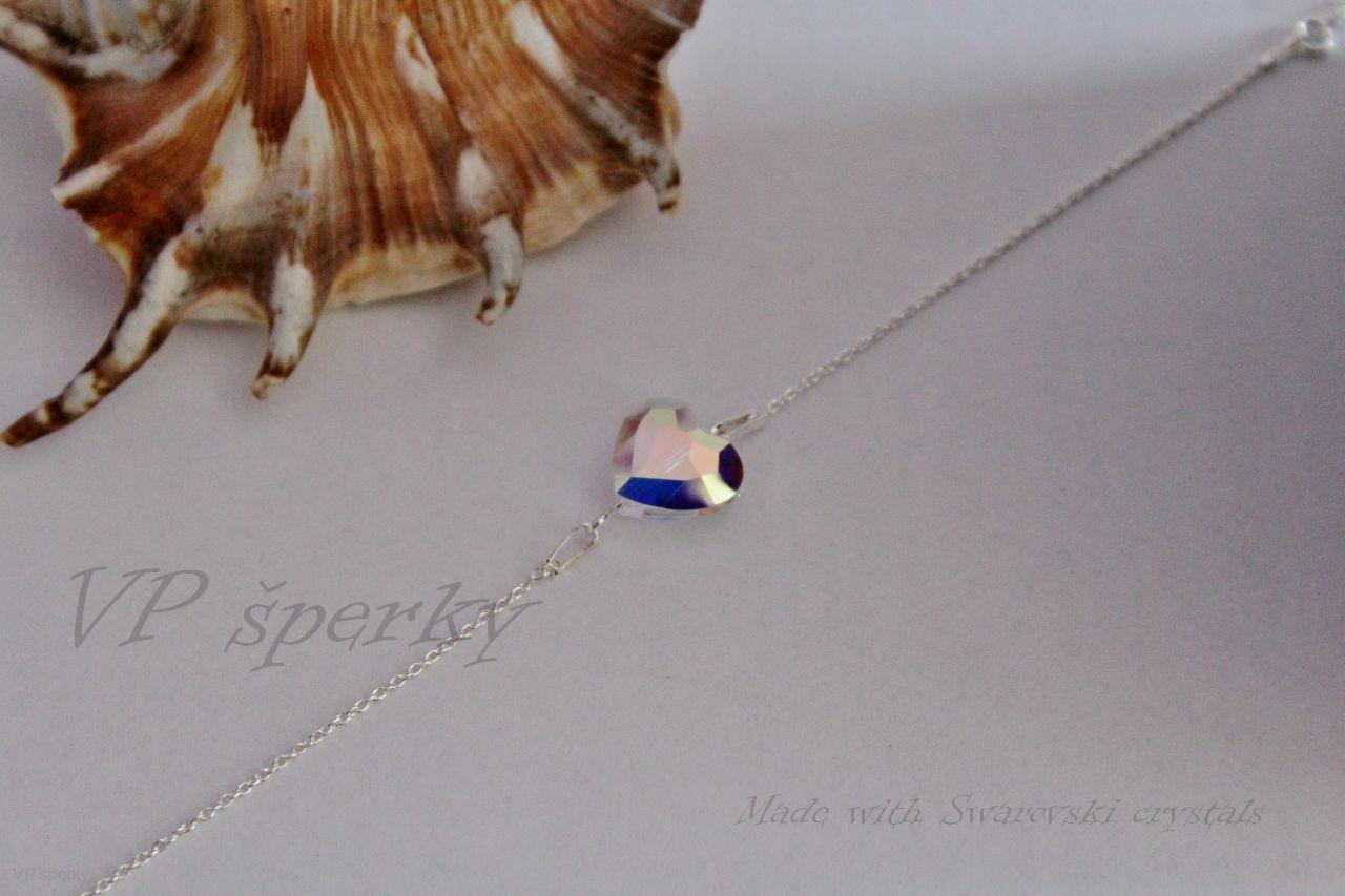 30159c30f Strieborný náramok Swarovski crystals - srdcia dúhové